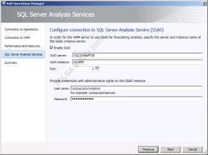 SQL Server Analysis Services bağlantı ayarları.