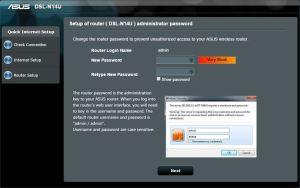 DSL-N14U ilk bağlantı admin şifresi değiştirme ekranı.